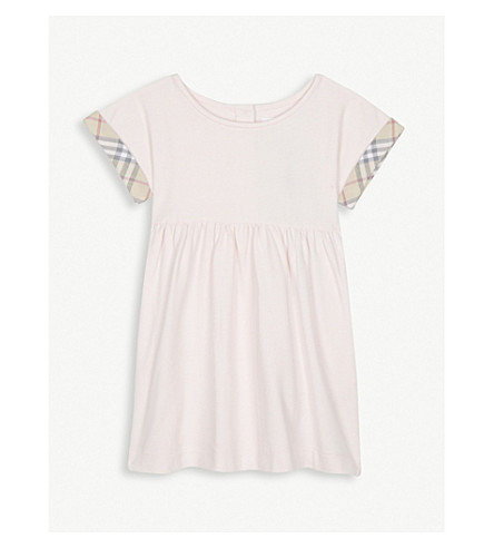 BURBERRY Jen check trim cotton dress 3-24 months (Powder+pink