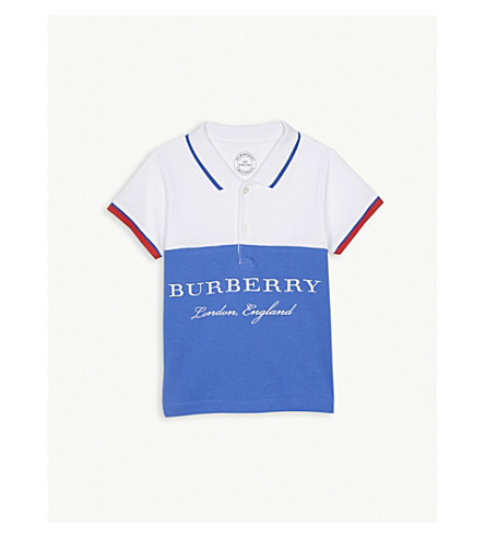 BURBERRY Contrast cotton polo shirt 6-36 months (Cobaltblue