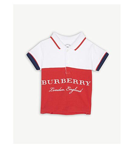 BURBERRY Logo piqué cotton polo shirt 6-36 months (Bright+orange+red
