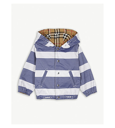 BURBERRY Reversible stripe and vintage check cotton jacket 12-36 months (Navy/white