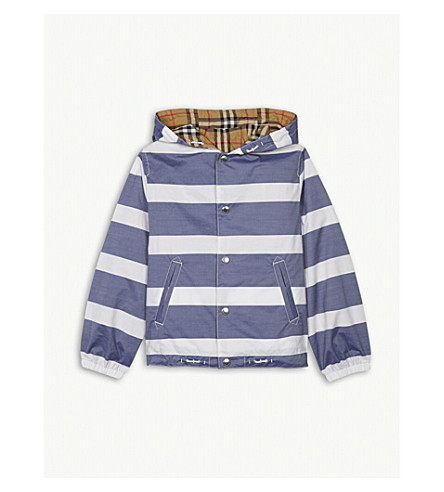 BURBERRY Reversible stripe and vintage check cotton jacket 4-14 years (Navy/white