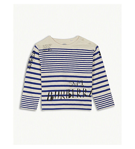 BURBERRY SW1 striped cotton T-shirt 6-36 months (Bright+white