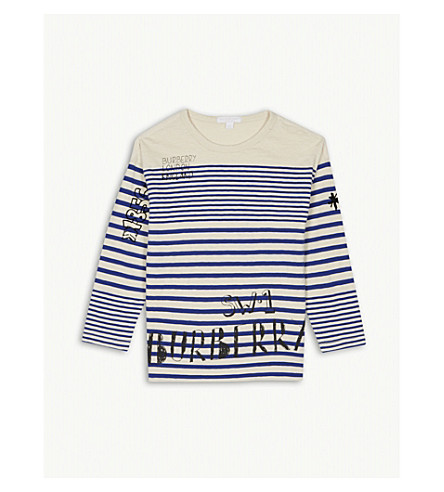 BURBERRY SW1 striped cotton T-shirt 4-14 years (Bright+white