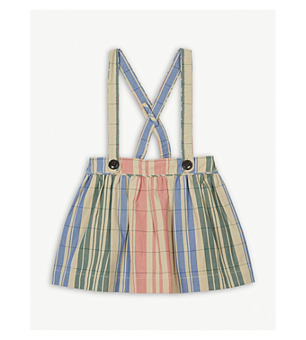 BURBERRY Check gathered cotton pinafore skirt 6-36 months (Coral+pink