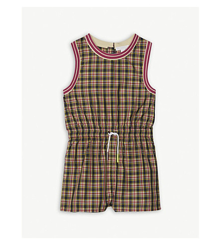 BURBERRY Striped trim check playsuit 4-14 years (Bright+pink