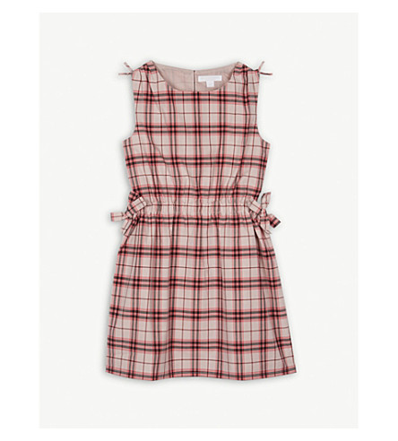 BURBERRY Bow detail check cotton dress 4-14 years (Bright+rose