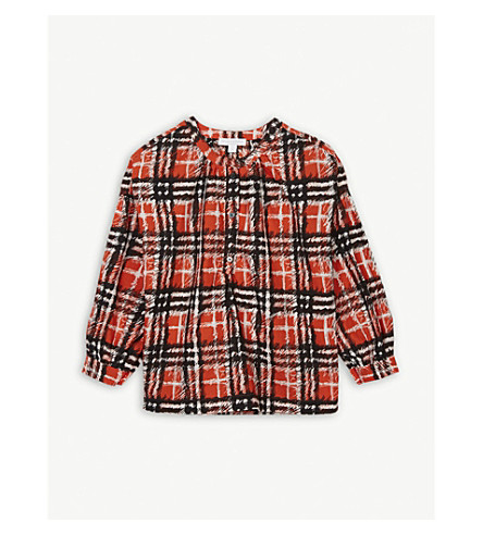 BURBERRY Lola scribble check print cotton blouse 4-14 years (Bright+red