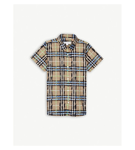 BURBERRY Scribble check cotton shirt 4-14 years (Bright+blue