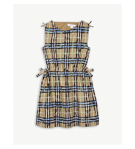 BURBERRY Scribble check sleeveless cotton dress 4-14 years (Bright+blue