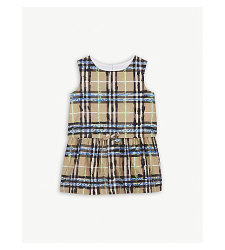 BURBERRY Scribble check cotton dress 6-36 months (Bright+blue