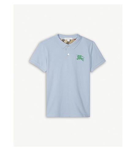 BURBERRY Logo piqué cotton polo shirt 4-14 years (Sky+blue