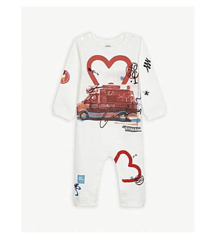 BURBERRY Adelle printed cotton romper 3-24 months (Natural+white