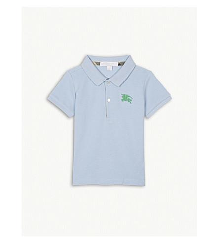 BURBERRY Logo piqué cotton polo shirt 6-36 months (Sky+blue