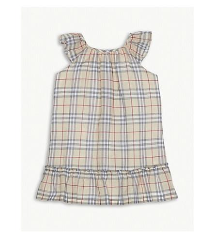 BURBERRY Tania check cotton dress 3-24 months (Pale+stone
