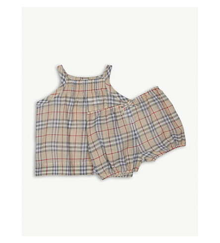 BURBERRY Marissan cotton check dress and bloomers set 3-24 months (Pale+stone
