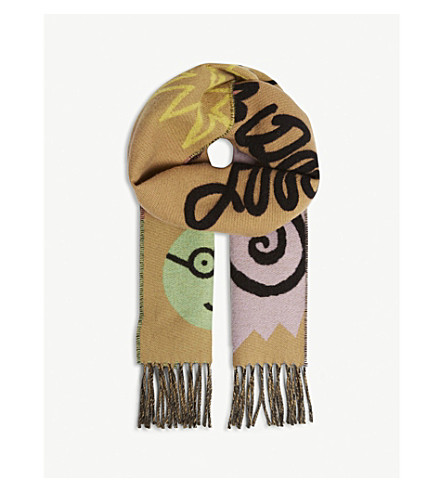 BURBERRY Logo wool-blend scarf (Antique yellow