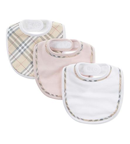 BURBERRY Check print cotton bibs set of three (Powder+pink