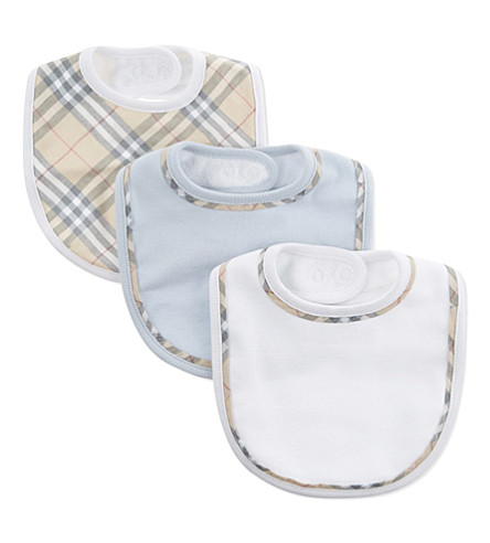BURBERRY Check print cotton bibs set of three (Ice+blue