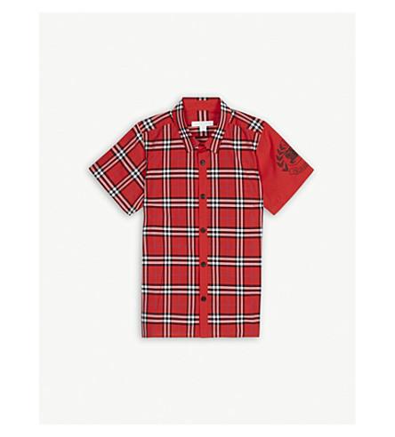 a055b3c6d BURBERRY Check print logo cotton shirt 4-14 years (Bright+military+red