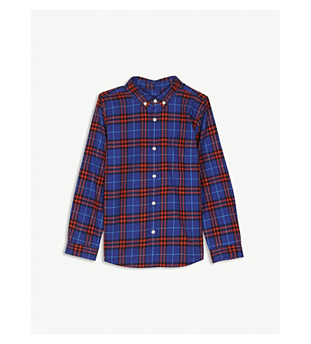 BURBERRY Check cotton flannel shirt 4-14 years (Sapphire+blue