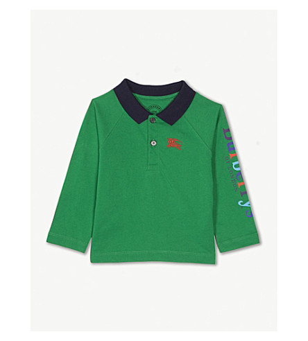BURBERRY Logo long-sleeved cotton polo shirt 6-36 months (Bright+pigment+green
