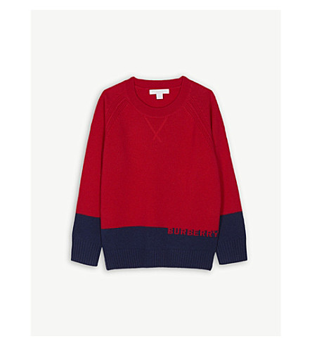 BURBERRY Logo colour-block cashmere jumper 4-14 years (Bright+red