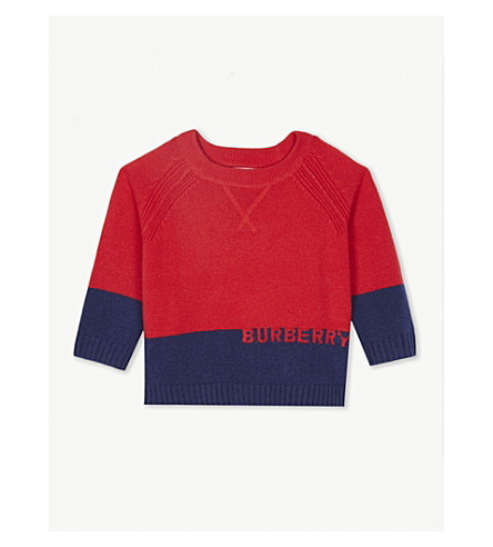BURBERRY Block panel cashmere jumper 6-36 months (Bright+red