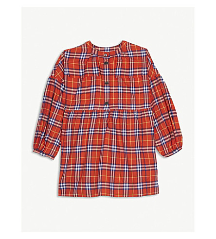 BURBERRY Check cotton flannel dress 4-14 years (Brigh+orange+red