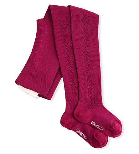 BURBERRY Cotton cable knit tights (Fuschia
