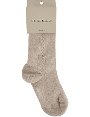 BURBERRY Cable knit cotton tights