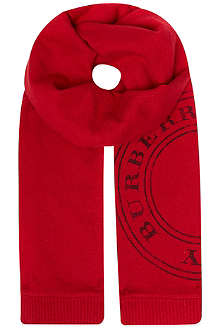 BURBERRY Angora knitted stamp logo scarf