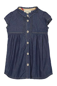 BURBERRY Pleated front denim dress 6 month-3 years