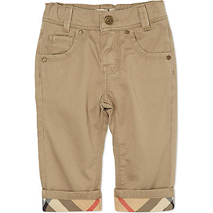 BURBERRY Turned-up trousers 6 months-3 years (Khaki