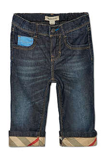 BURBERRY Five-pocket checked cuff jeans 6-36 months