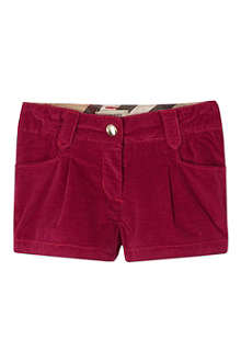 BURBERRY Checked turn-up velvet shorts 6-36 months