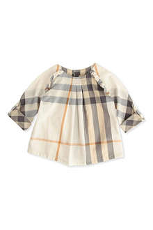 BURBERRY Check blouse with frill 3 months-3 years