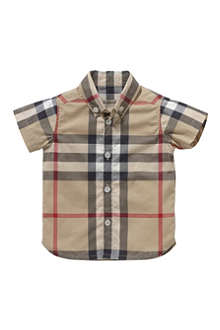 BURBERRY Check short-sleeve shirt 3 months–3 years