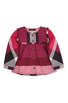 BURBERRY Checked frill shirt 3 months-3 years