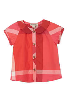 BURBERRY Pink checked blouse 6-36 months