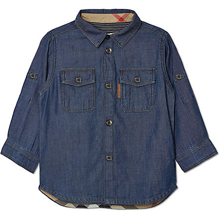BURBERRY Denim two-pocket shirt 6-36 months (Blue