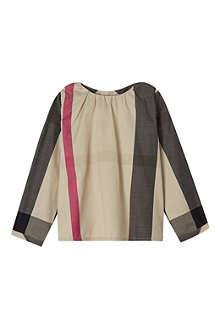 BURBERRY Half mega check blouse 3-36 months