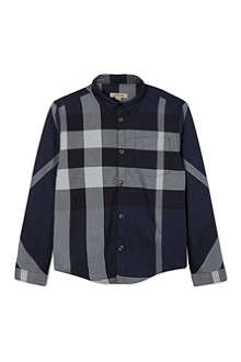 BURBERRY Half mega check long-sleeved shirt 3-36 months