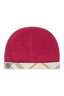 BURBERRY Check detail cashmere beanie XS - L
