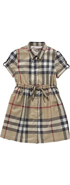 BURBERRY Checked dress with waist tie 4-14 years