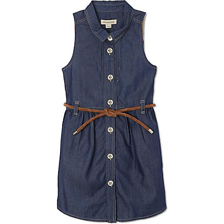 BURBERRY Denim tied waist dress 4-14 years (Sand