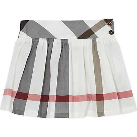 BURBERRY Exploded check poplin skirt 4-14 years (White