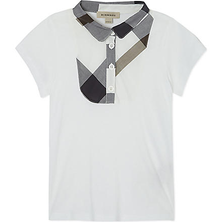 BURBERRY Nova check polo shirt 4-14 years (White