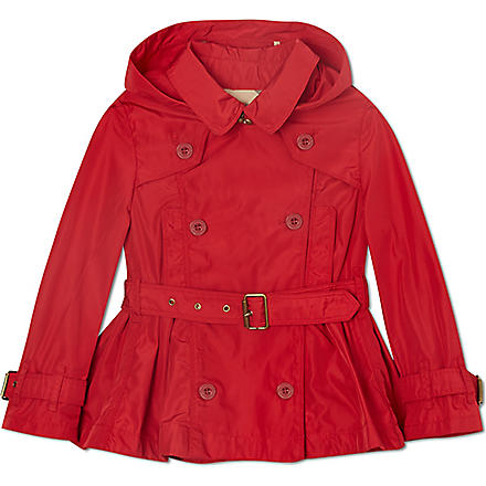 BURBERRY Belted peplum trench coat 4-14 years (Red