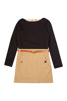 BURBERRY Belted two-tone dress 4-14 years