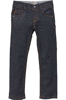 BURBERRY Indigo stone nova jeans with check turn-up 4-14 years